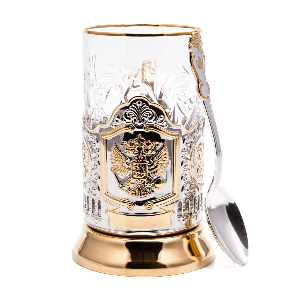 Подстаканник «Герб» + чайная ложечка