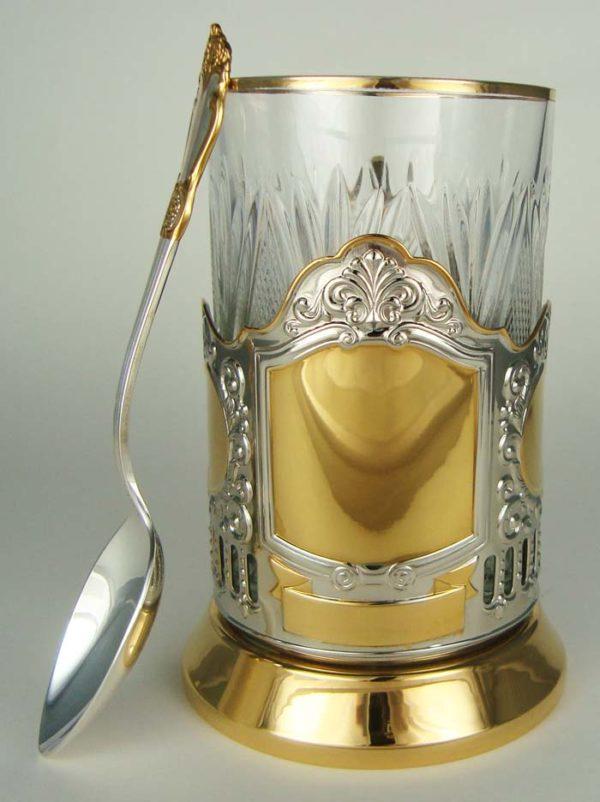 Подстаканник «Под гравировку» + чайная ложечка
