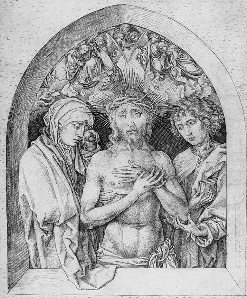 """Мартин Шонгауэр """"Спаситель муж скорбей между Девой Марией и Св.Иоанном"""""""