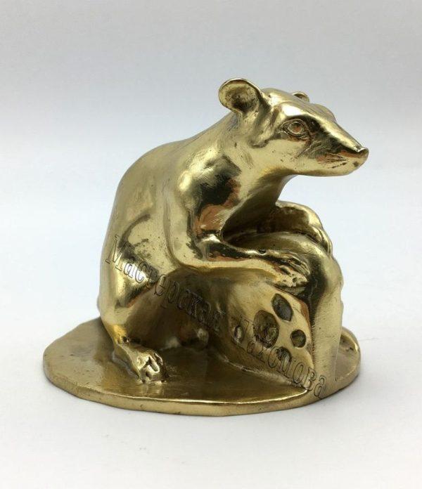 Бронзовая статуэтка - Мышь с сыром